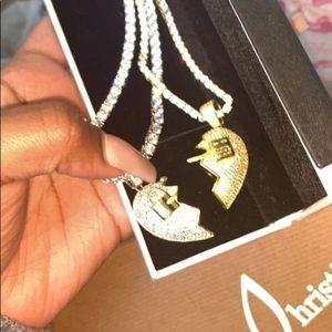 Lock and key broken heart necklace. For partner